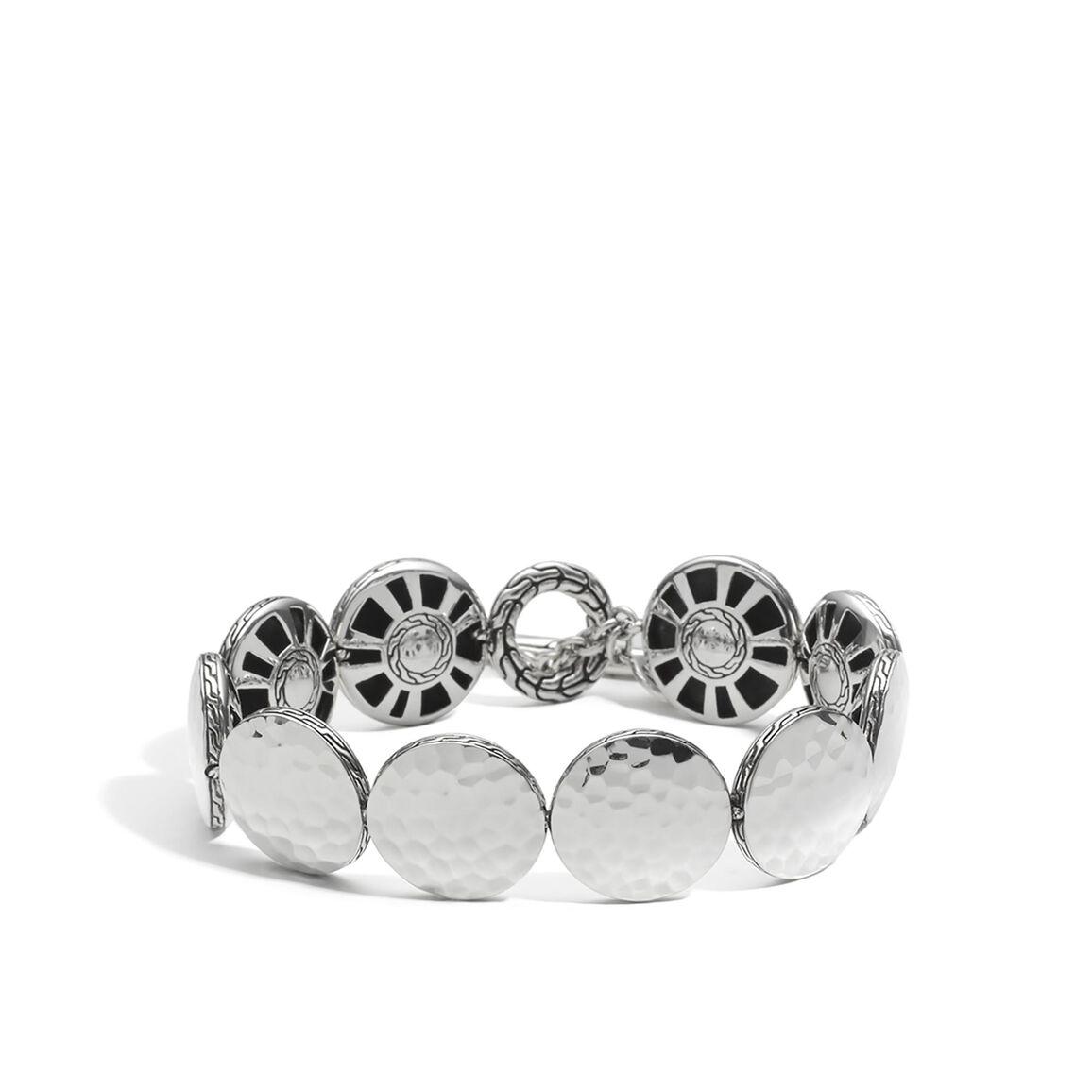 Dot 16.5MM Link Bracelet in Hammered Silver