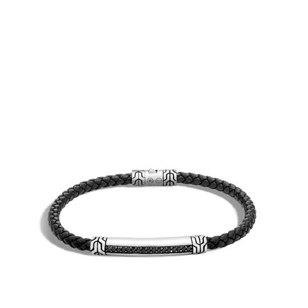 Classic Chain 4MM Station Bracelet, Silver, Leather, Gems
