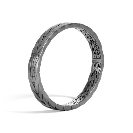 Modern Chain 8MM Hinged Bangle in Blackened Silver