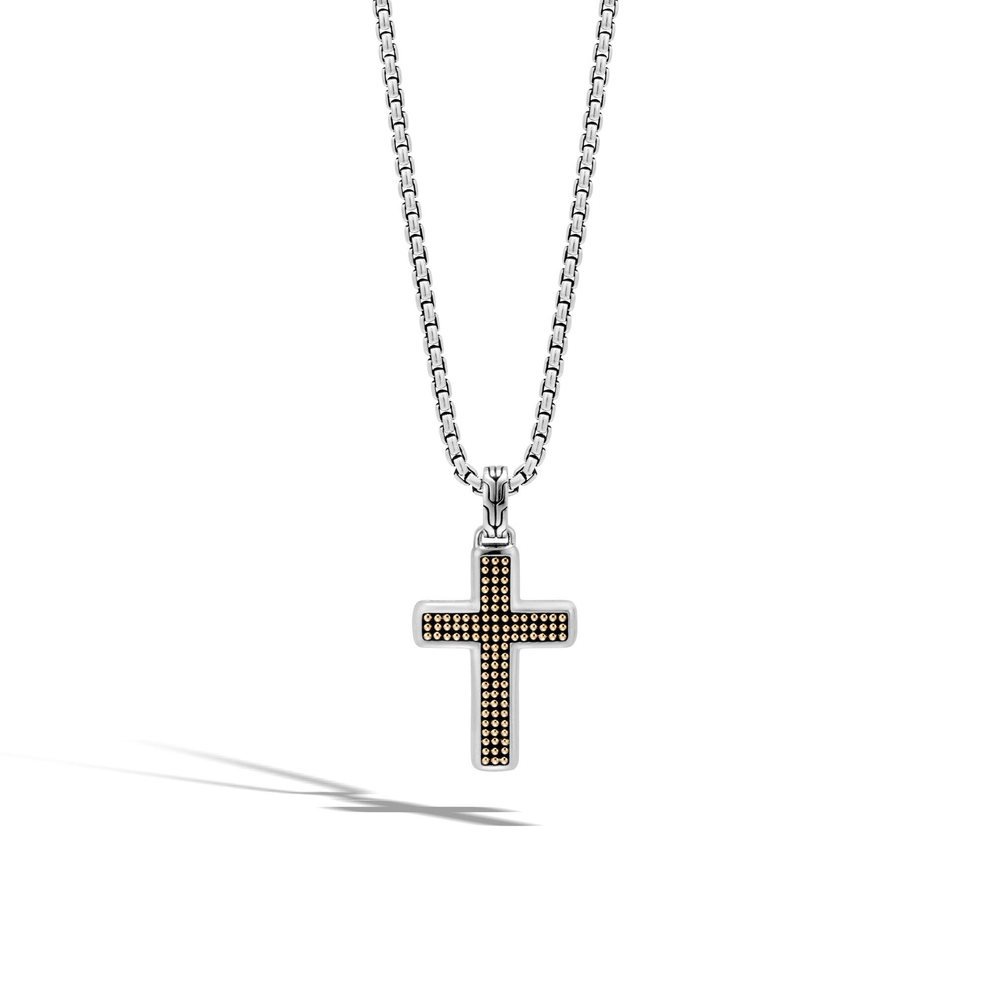 John Hardy Mens Classic Chain Jawan Cross Pendant Necklace 1ELH3b