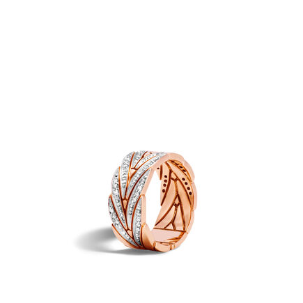 Modern Chain 8.5MM Band Ring in 18K Rose Gold with Diamonds