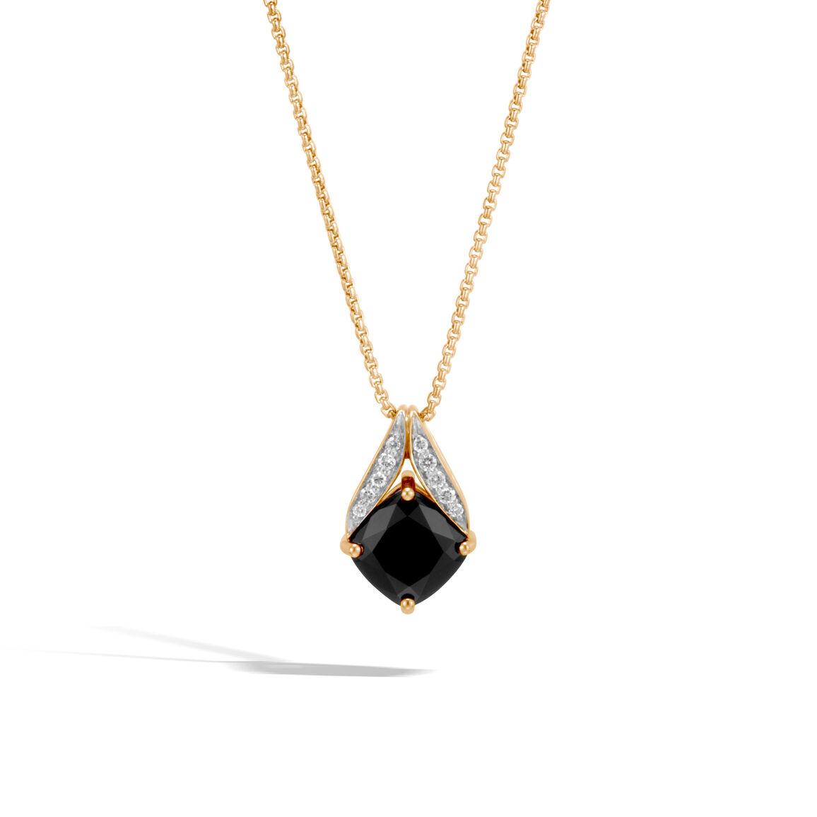 Modern Chain Magic Cut Pendant Necklace, 18K Gold, Gem, Dia