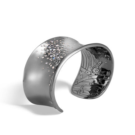 Bamboo 33MM Cuff in Blackened Silver, Gemstone and Diamonds