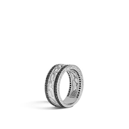 Classic Chain 9MM Band Ring in 18K White Gold,Gemstone
