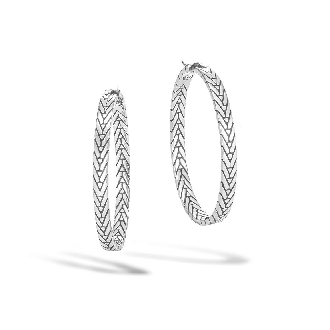 Modern Chain Medium Hoop Earring in Silver