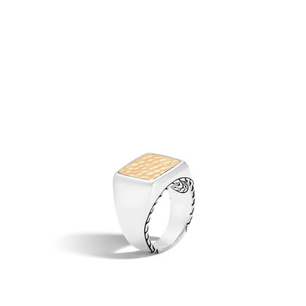 Classic Chain Signet Ring in Hammered 18K Gold and Silver