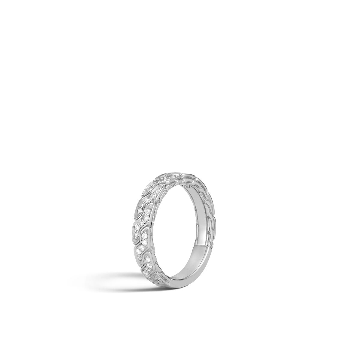 Classic Chain 4MM Band Ring in 18K White Gold with Diamonds