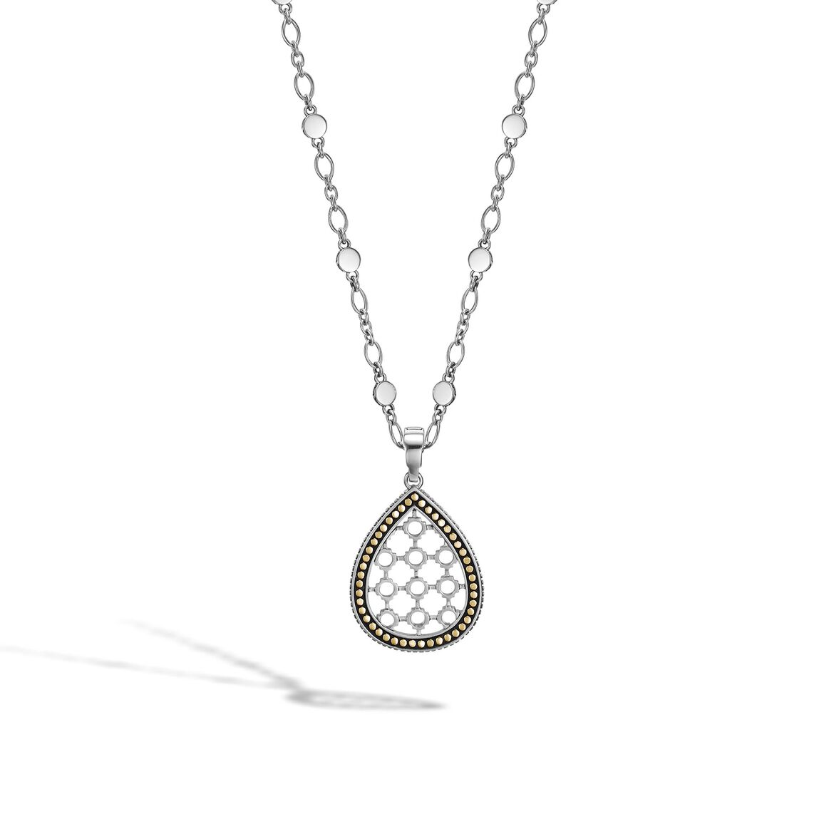Dot Drop Pendant Necklace in Silver and 18K Gold