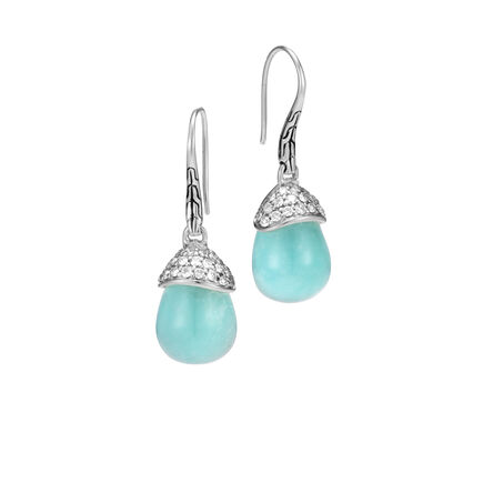 Classic Chain Celestial Orb Drop Earring, Silver, Gem, Dia