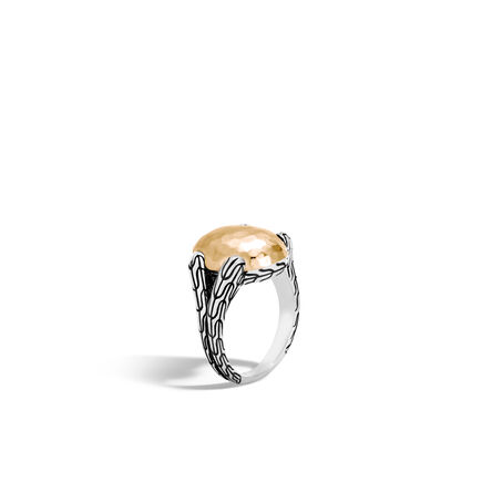 Classic Chain Ring in Silver and Hammered 18K Gold