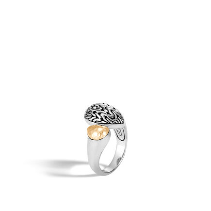 Classic Chain Bypass Ring in Silver and Hammered 18K Gold