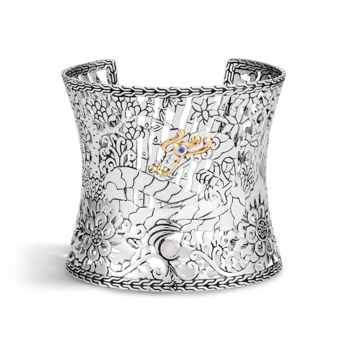 Legends Naga 64MM Cuff in Silver and 18K Gold with Gemstone