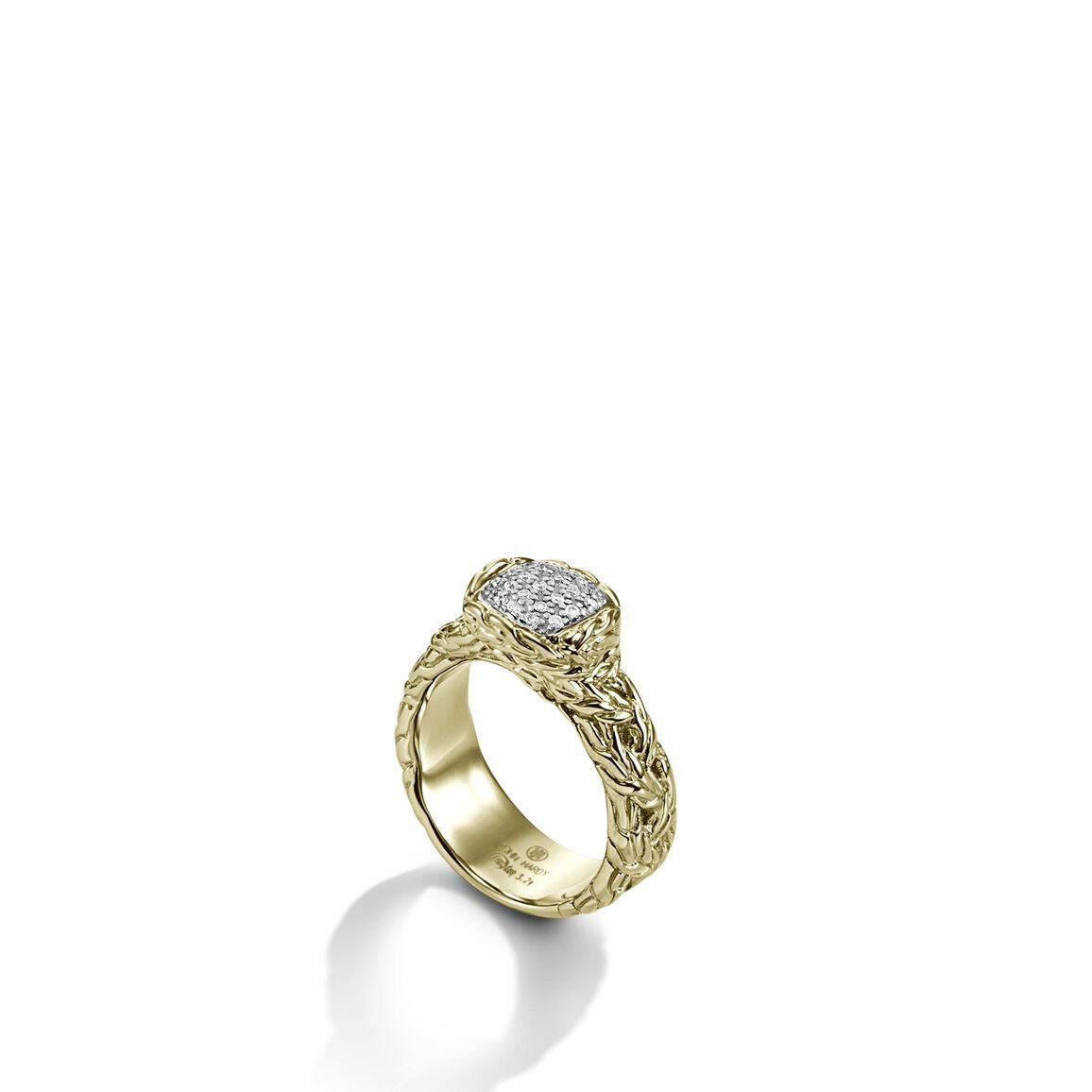 Classic Chain Band Ring in 18K Gold with Diamonds