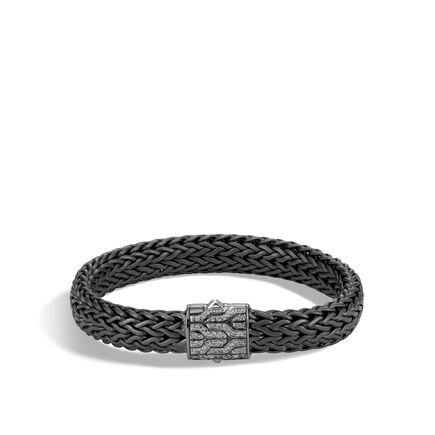 Classic Chain 11MM Bracelet in Blackened Silver, Diamonds