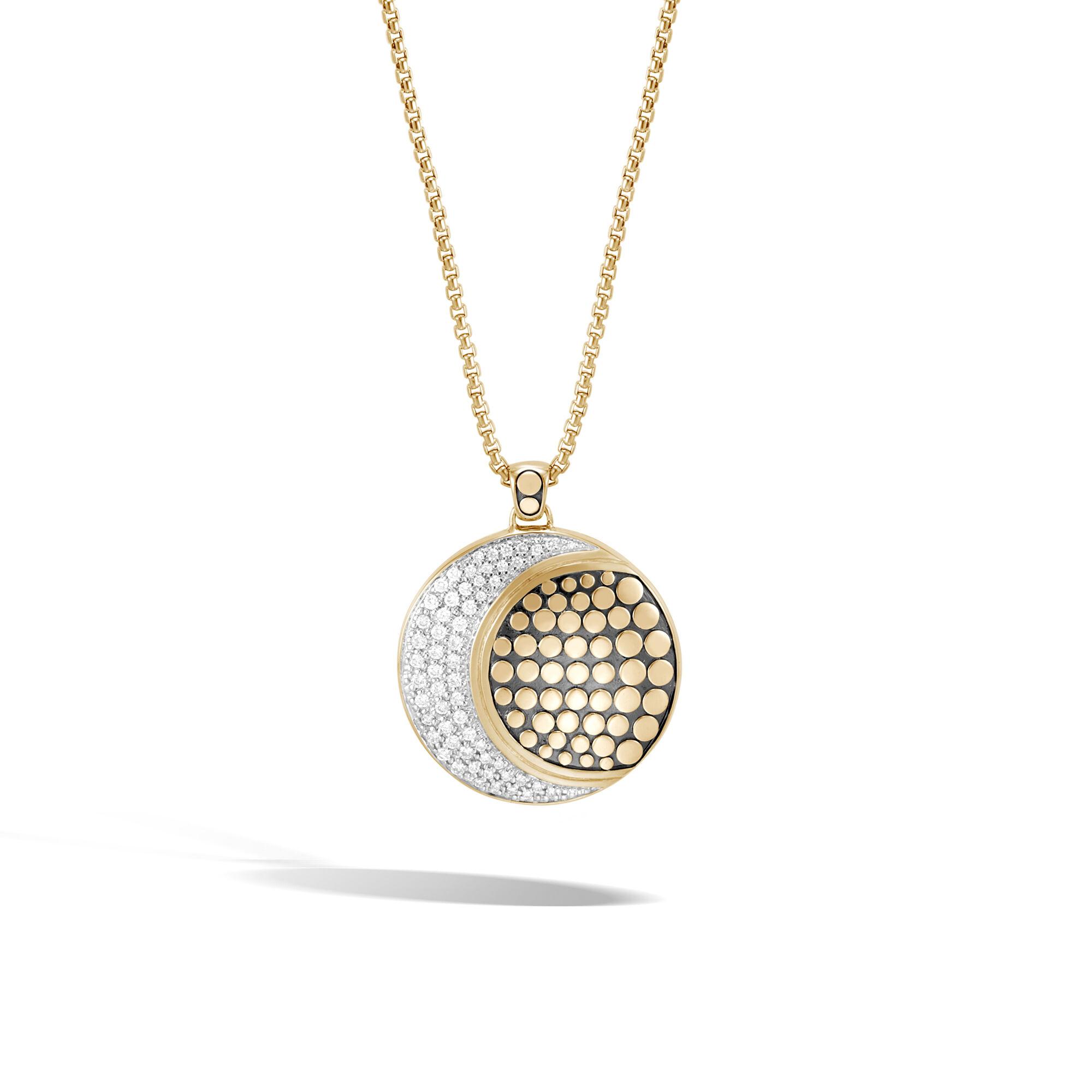 John Hardy Dot Moon Phase 18K Gold Diamond Pave Pendant Necklace, 36