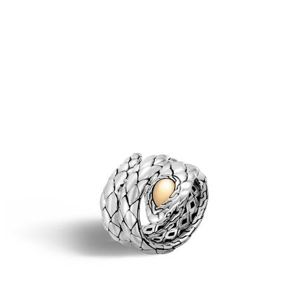 Legends Cobra Double Coil Ring in Silver and 18K Gold