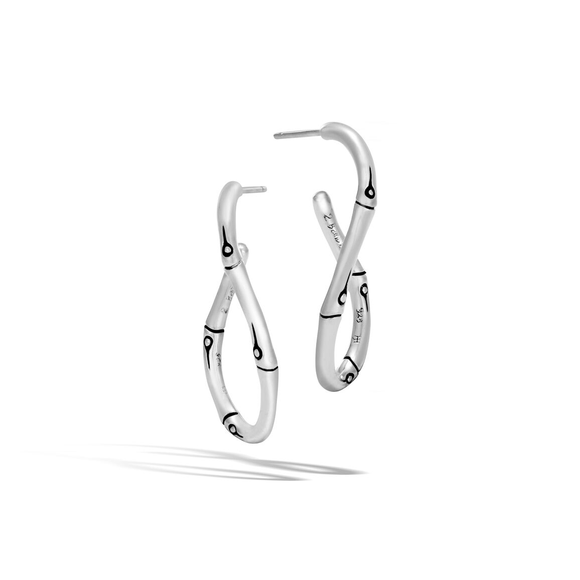 Bamboo Medium Twisted Hoop Earring in Silver