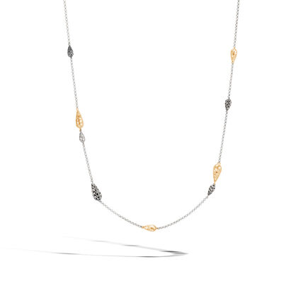 Classic Chain Station Necklace, Silver and Hammered 18K Gold