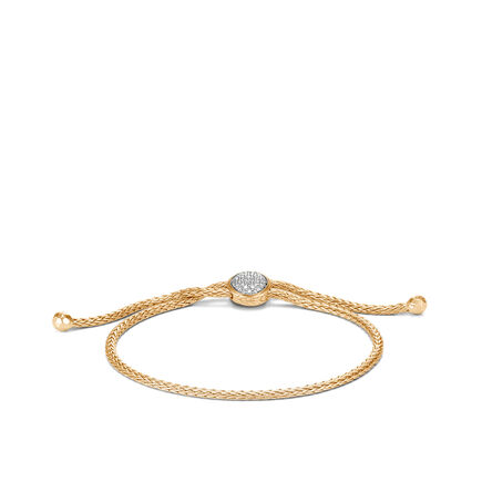 Classic Chain Pull Through Bracelet in 18K Gold with Diamonds
