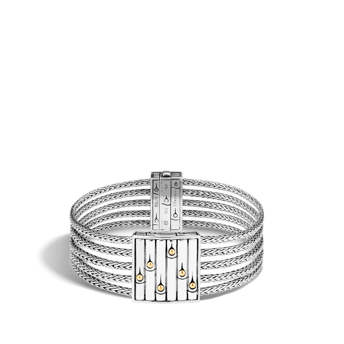 Bamboo Heritage Multi Row Bracelet, Silver and 18K Gold