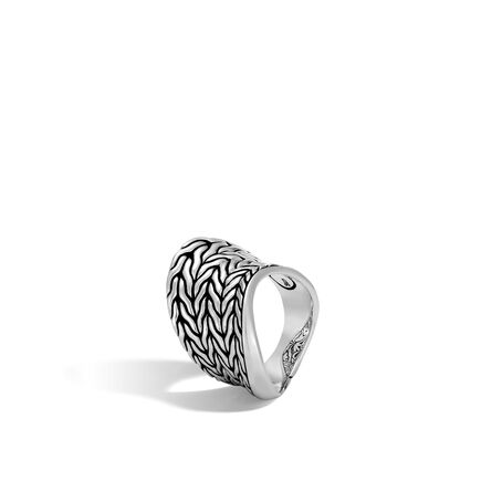 Classic Chain Wave Saddle Ring in Silver