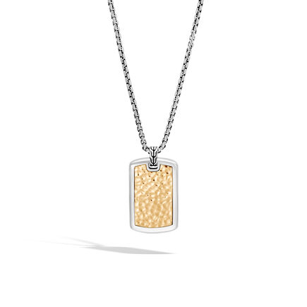 Classic Chain Large Dog Tag Necklace, Hammered 18K G, Silver