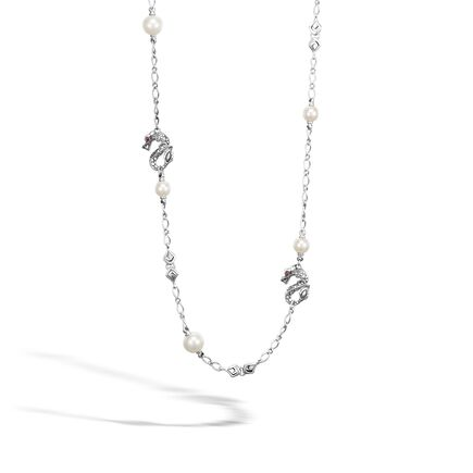 Legends Naga 4MM Station Necklace in Silver with 11MM Pearl