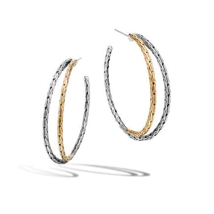 Classic Chain Medium Hoop Earring in Silver and 18K Gold