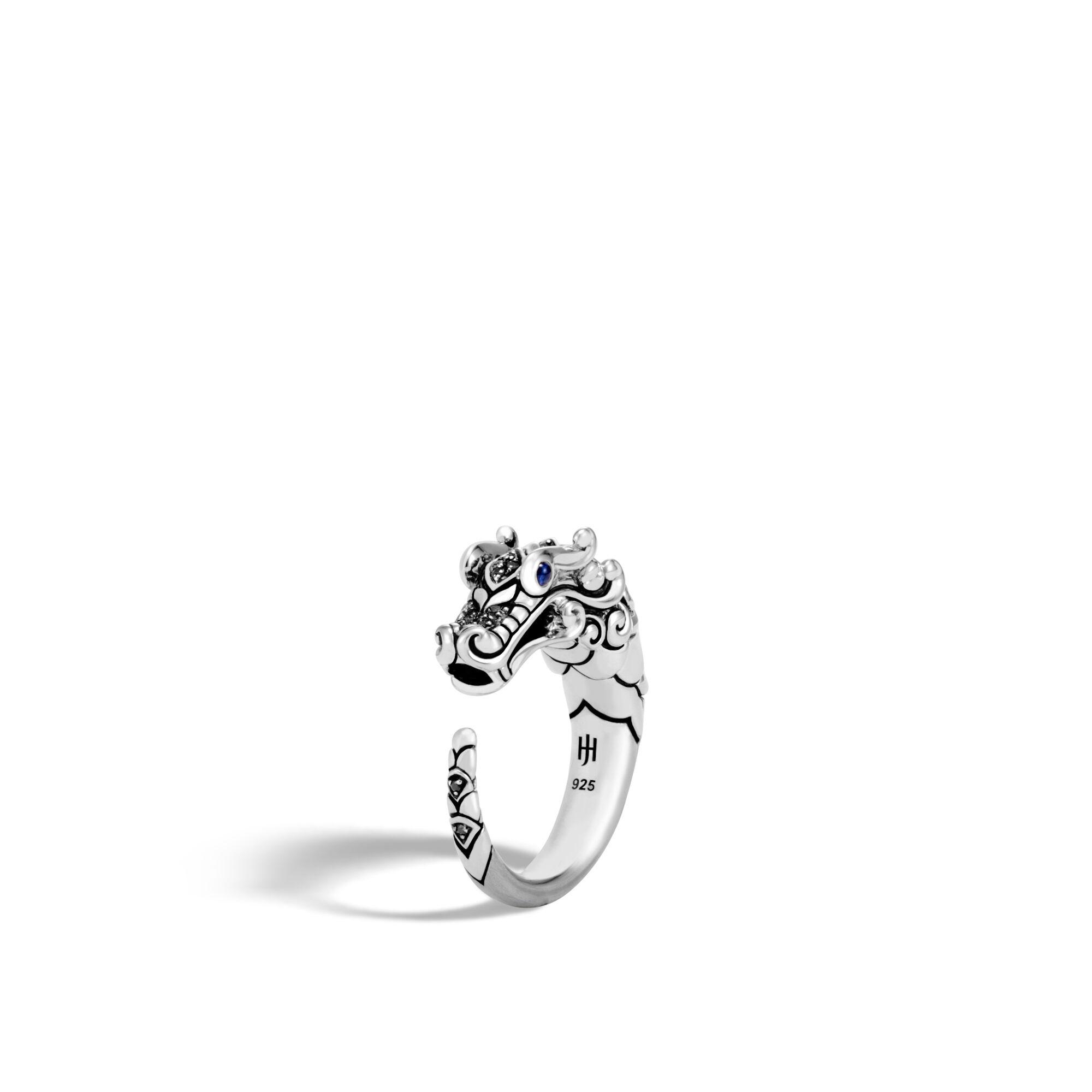 John Hardy Naga Ring With Black Sapphire, Black Spinel