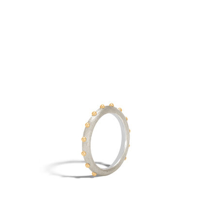 Dot 3MM Band Ring in Brushed Silver and 18K Gold