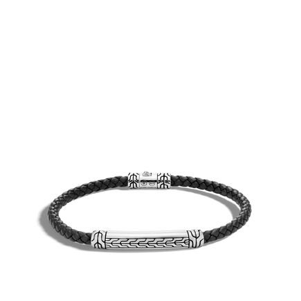 Classic Chain 4MM Station Bracelet in Silver and Leather