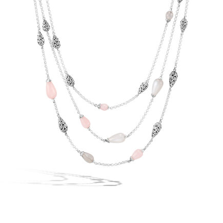 Classic Chain Multi Row Necklace in Silver with Gemstone