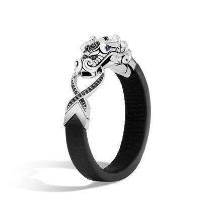 Legends Naga Bracelet in Brushed Silver, Leather, Gemstone