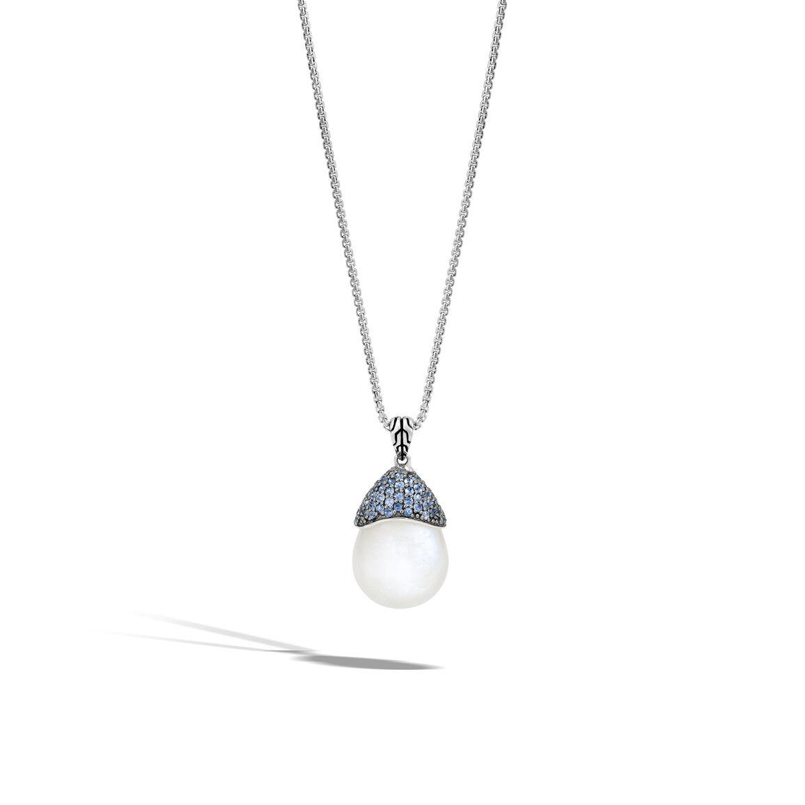 Classic Chain Celestial Orb Pendant, Silver, 19x16MM Gemstone
