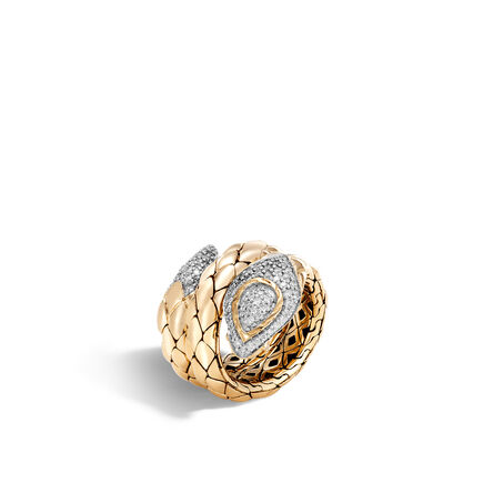 Legends Cobra Coil Ring in 18K Gold with Diamonds