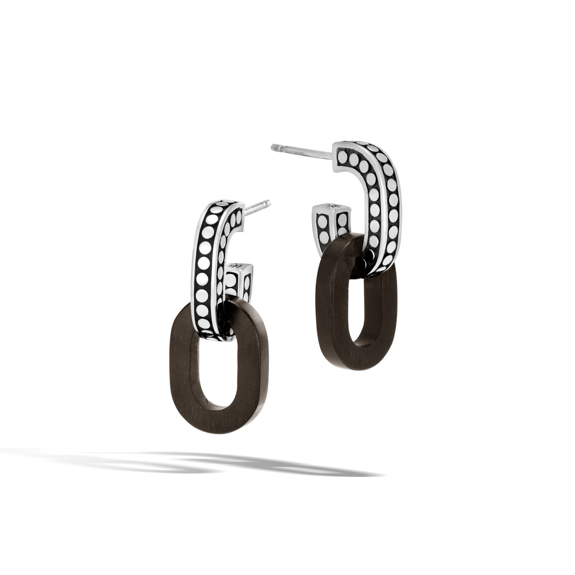 Dot Drop Earring in Silver with Wood