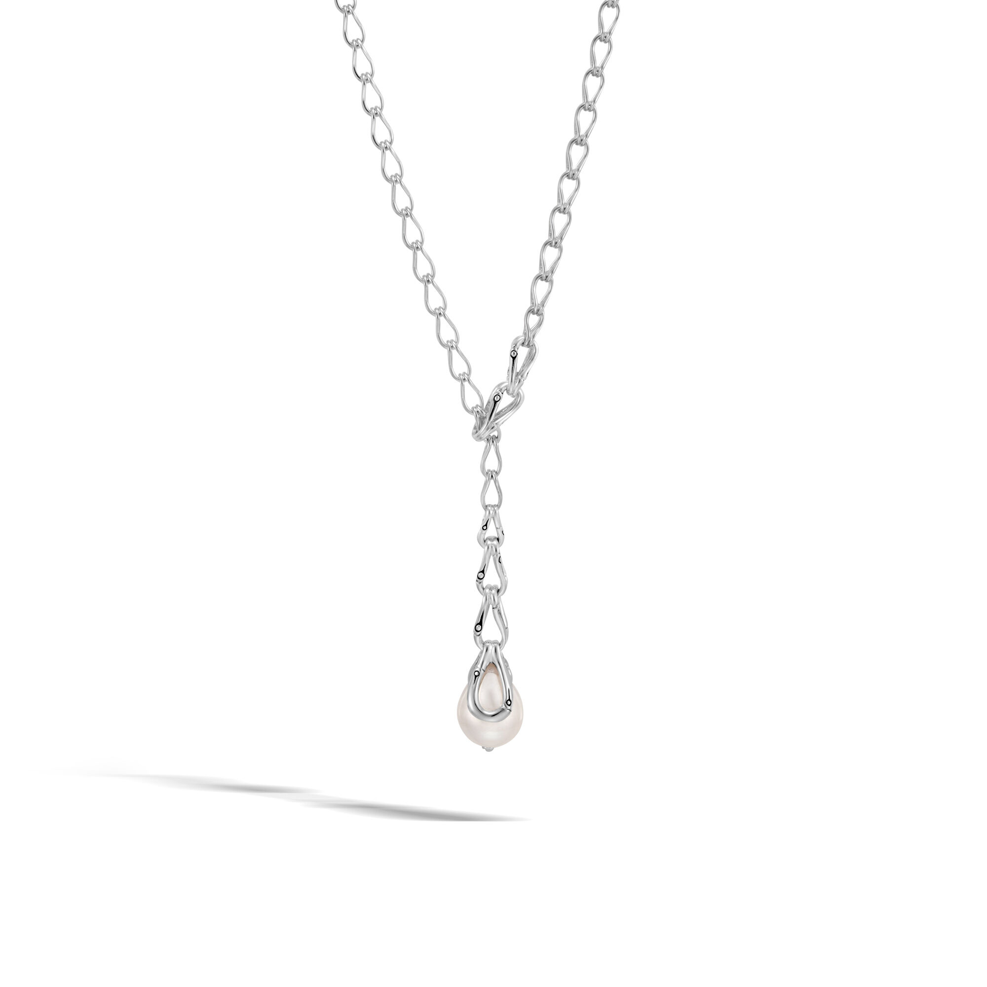John Hardy Bamboo Graduated Silver Necklace, 17L