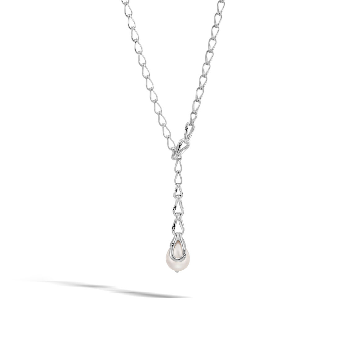 Bamboo Y Necklace in Silver with 12MM Pearl