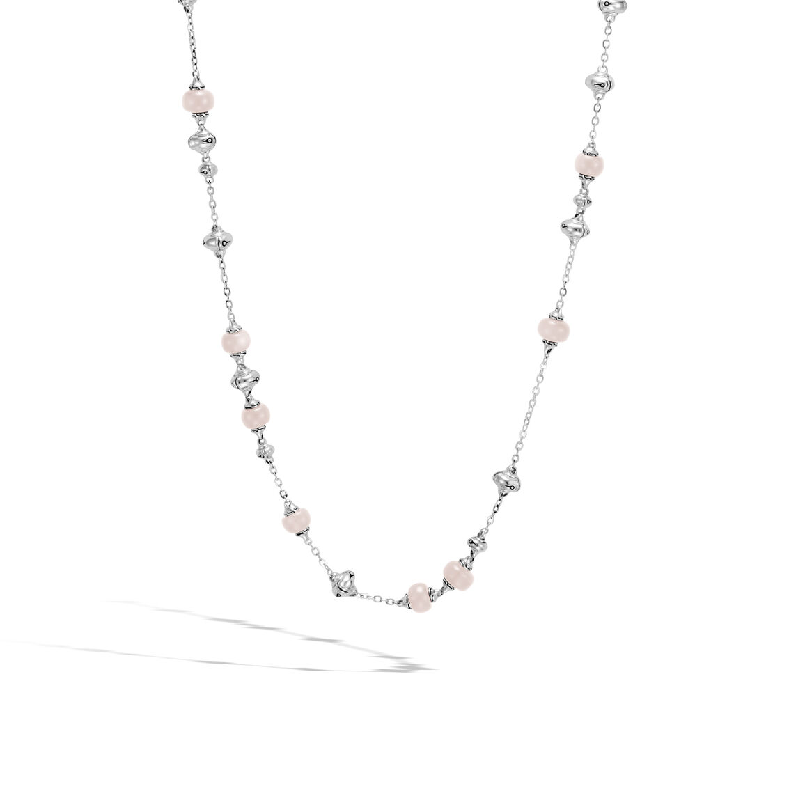 Bamboo Station Necklace in Silver with Gemstone