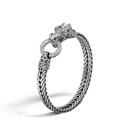 Legends Naga 7MM Station Bracelet in Silver with Gemstone