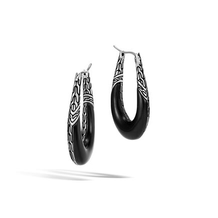 Classic Chain Hoop Earring in Silver with Gemstone
