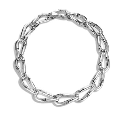 Bamboo 21MM Link Necklace in Silver