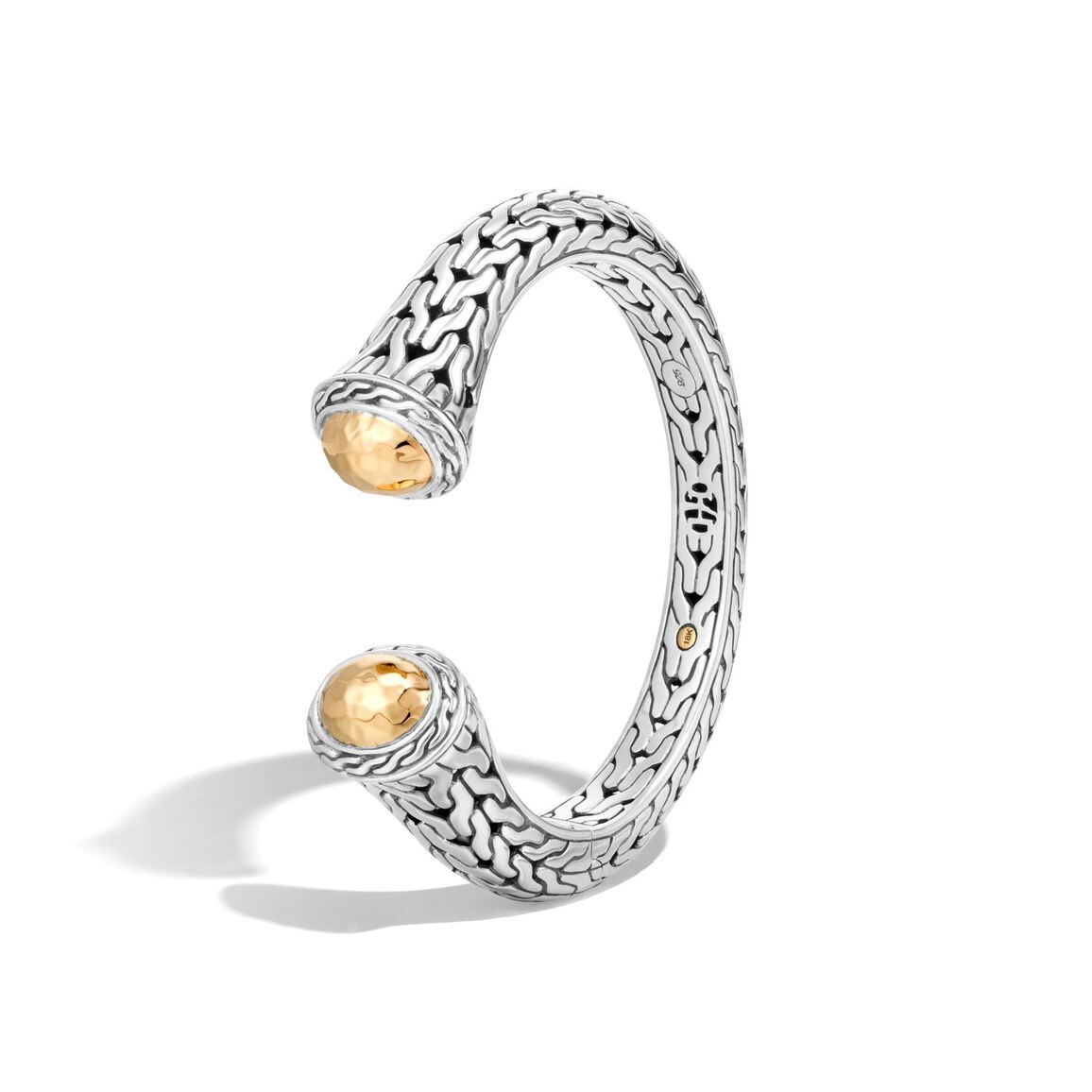 Classic Chain 20MM Kick Cuff in Silver and Hammered 18K Gold
