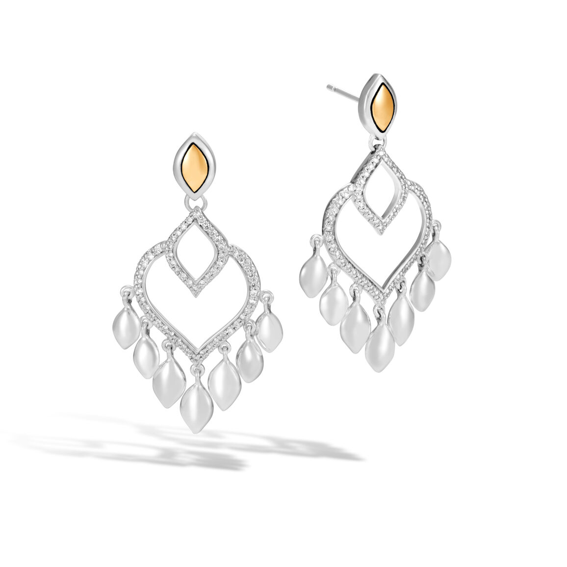 Legends Naga Chandelier Earring, Silver, 18K Gold , Diamonds