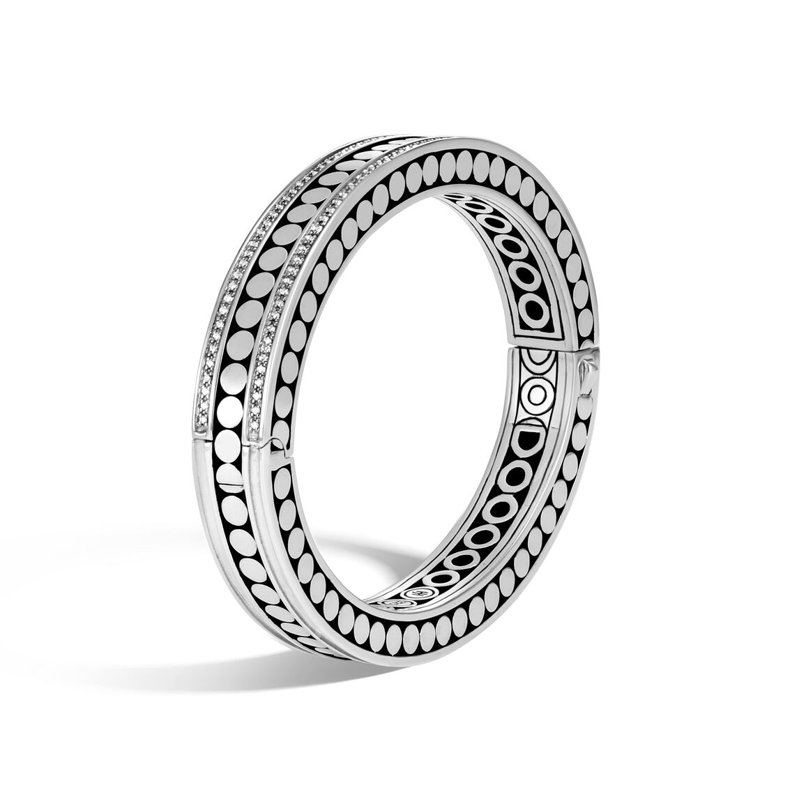 Dot Hinged Bangle in Silver with Diamonds