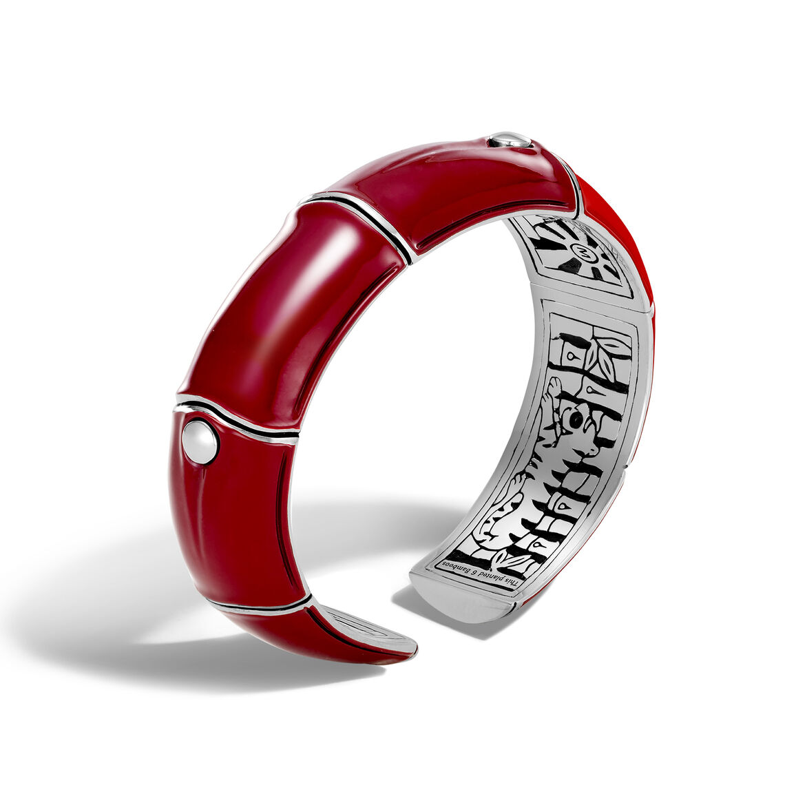 Bamboo 17.5MM Kick Cuff in Silver and Enamel