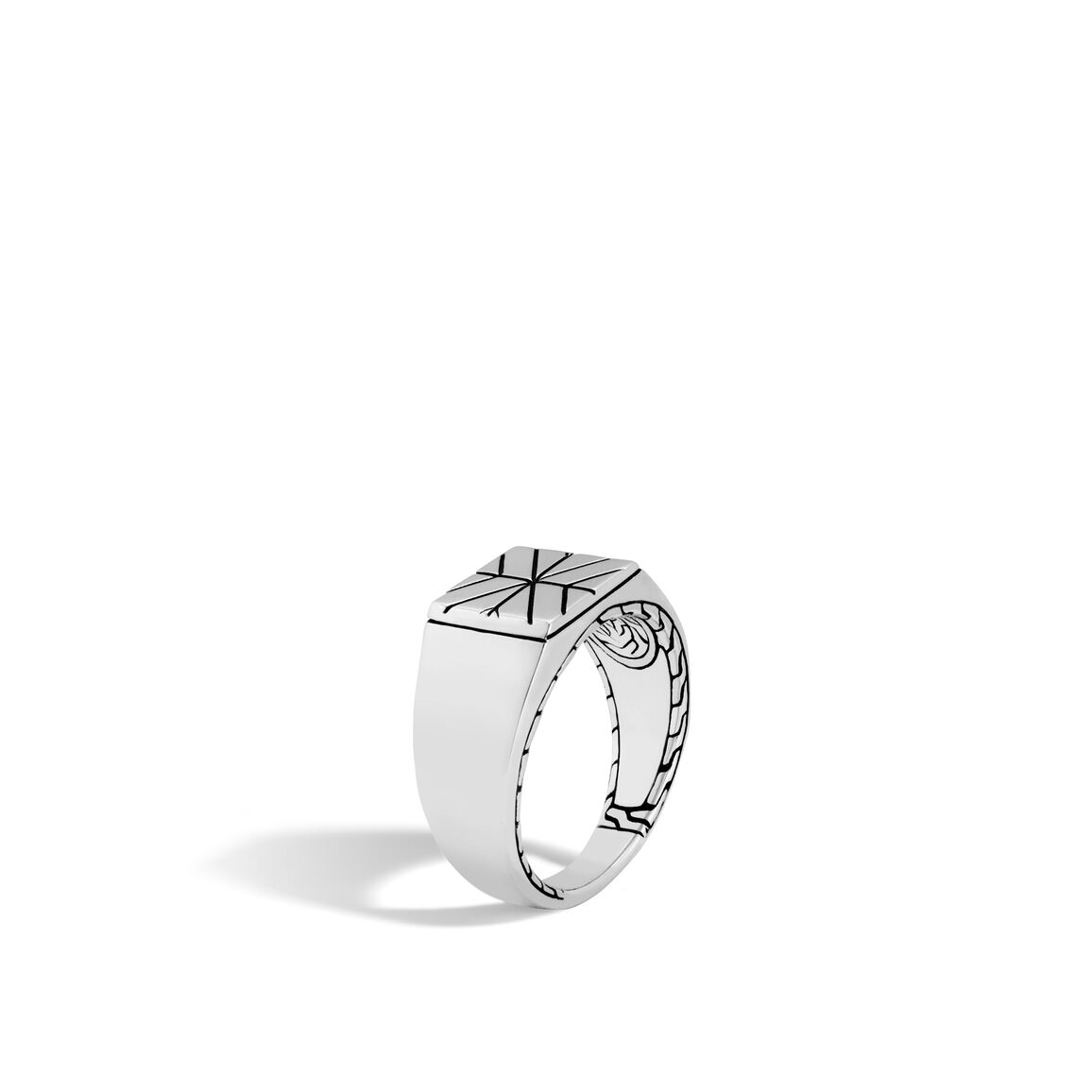 Modern Chain Signet Ring in Silver