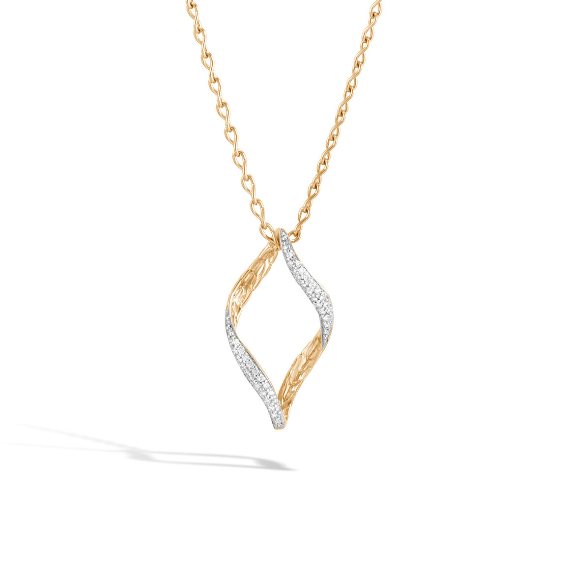 Classic Chain Wave Pendant Necklace in 18K Gold,  Diamonds