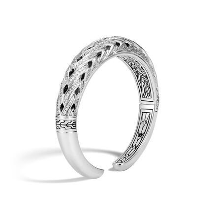Classic Chain 11MM Graduated Kick Cuff, Silver with Diamonds