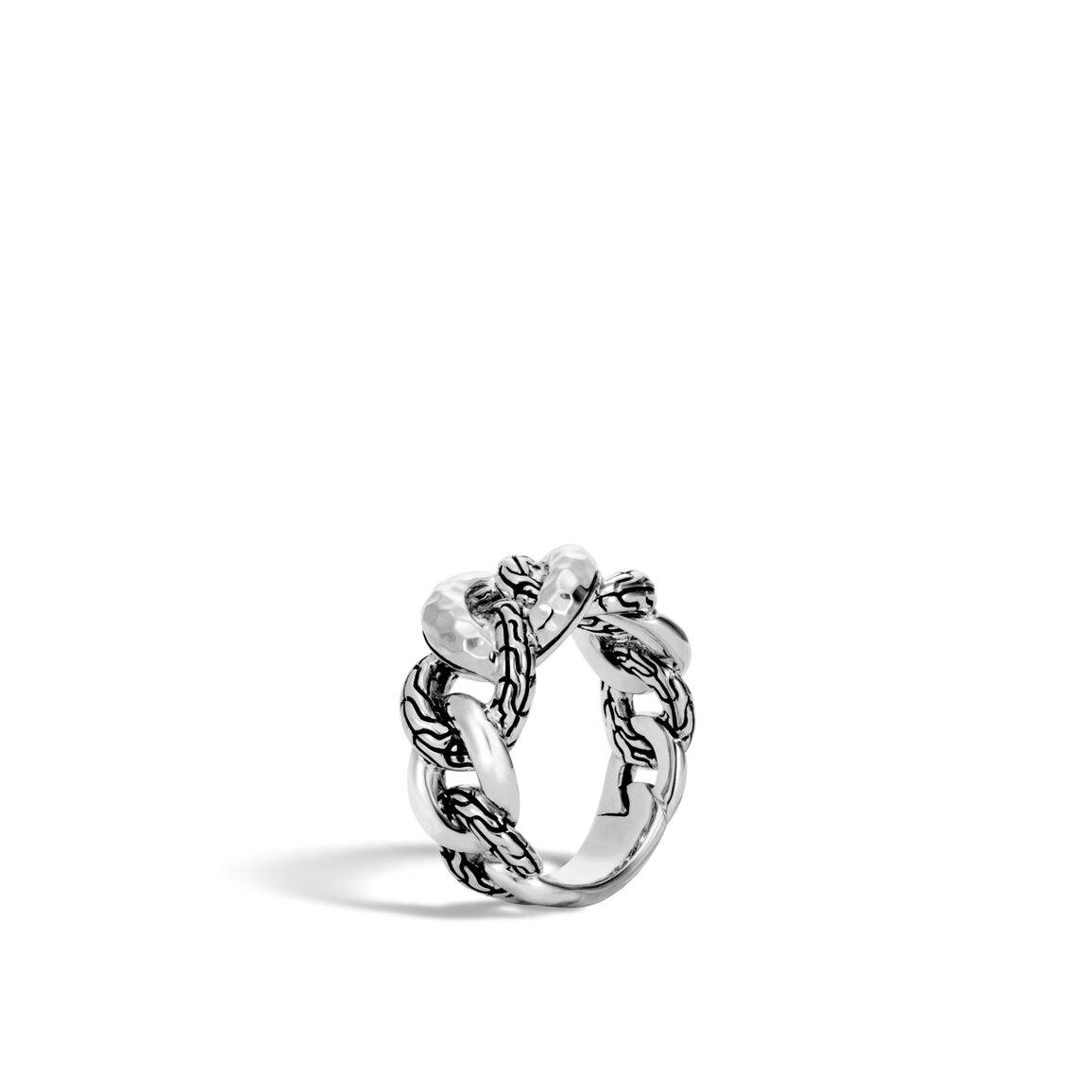 Classic Chain 11MM Band Ring in Hammered Silver